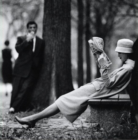 Woman on park bench, Central Park, New York, 1957. Photography by Yale Joel.