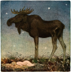 Bull moose Skutt and princess Tuvstarr, painting by John Bauer