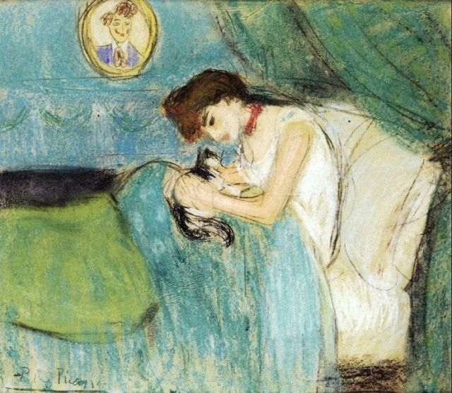 woman with a cat, Pablo Picasso 1900