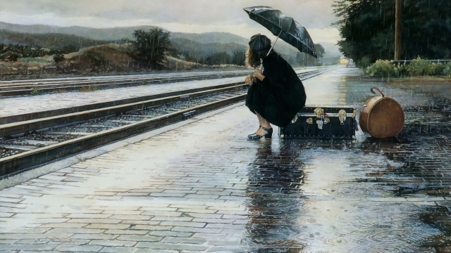 girl-woman-rain-umbrella-train-railway-station-platform-suitcase