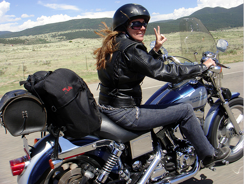 woman on a motor bike